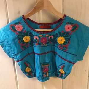Mexican Style Embroidered Crop Top